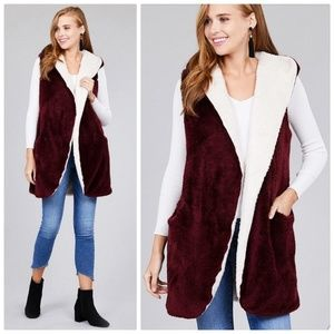 Burgundy Faux Fur Fluffy Hoodie Vest